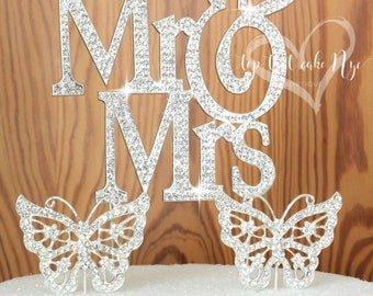 Large Silouhette Silver Mr and Mrs wedding cake topper covered in crystal rhinestones wedding decoration