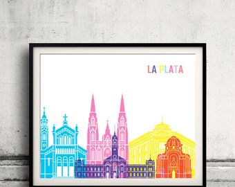 La plata skyline pop - Fine Art Print Glicee Poster Gift Illustration Pop Art Colorful Landmarks - SKU 2375