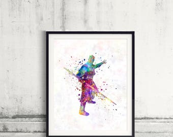 Darth Maul Star Wars - Fine Art Print Glicee Rey Poster Watercolor Children's Illustration Wall - SKU 2566