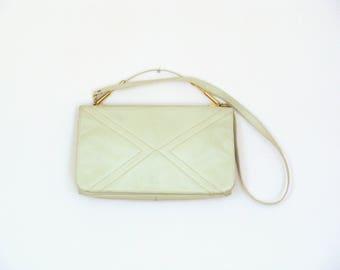 Vintage Beige Faux Lether Hand / Shoulder Bag / Detachable Strap