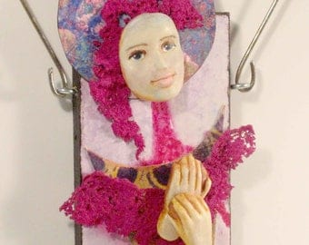 Mixed Media Art Doll - Spirit Doll - Abstract Collage  Doll - Assemblage Doll -  LILAC