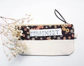 FEMINIST zipper pouch gift for her under 20 pencil bag with saying gift eco friendly custom quote handmade pouch she persisted gift exchange