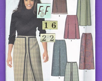 Women's Pleated, Flared Skirt Sewing Pattern/ Simplicity 9823 easy, knee length or long skirt UnCut/ Plus Size 16 18 20 22