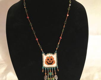 Happy Jack O' Lantern Woven Beaded Necklace