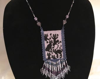 "Woven Bead Panel ""Porch Patrol""  Black Cats Necklace"