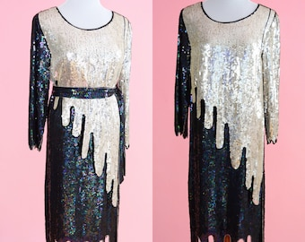 Vintage Silk and Sequin Party Dress // 20s Style, Silver and Black Sequins, 80s Cocktail Party Dress, Women Size Small