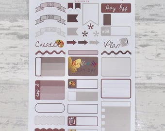 WARM NEUTRAL Weekly Sampler Set - Stickers for Planners!