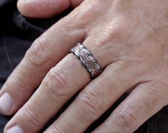 Mens wedding rings, Mans engagement ring, Two Tone Ring, Rustic wedding ring, Silver and Copper ring, Men's Wedding Band, RS-1146