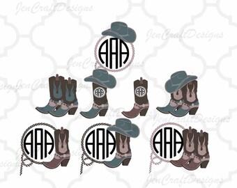 Cowboy Svg, Cowboy Monogram SVG Cowboy Hat Monogram, Cowboy Boots, Country SVG, Country Frame Cowboy SVG,dxf png Cut File Cricut, Silhouette