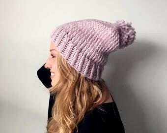 Pompom Knit Hat | READY TO SHIP | Pink Wool Slouchy Beanie