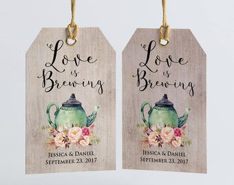 Rustic PERSONALIZED Bridal Shower Favor Tags, Love Is Brewing, Tea Party Bridal Shower, Wedding Favor Tags, Tea Favor Tags, Kitchen Tea Tags