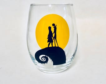 Nightmare Before Christmas Jack and Sally stemless wine glass or tumbler with st