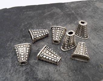 Tip ethnic Bell Cap cone bead caps cone tip collar, Cap, brass, silver, 18 x 16 mm