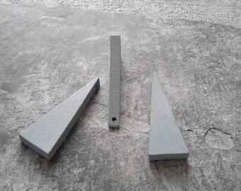 2 pcs, grey triangle geometric minimalist wood, 40 x 14 mm pendant