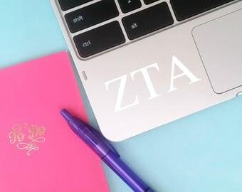 ANY COLOR  Zeta Tau Alpha ZTA Vinyl Decal: Laptop - Car Window - Tumbler - Etc