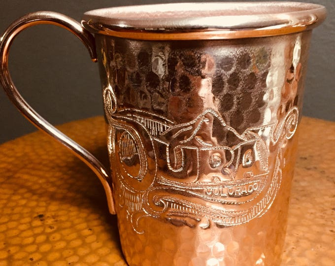 16oz Moscow Mule Hammered Copper Mug w/ Ouray Colorado hand engraved logo