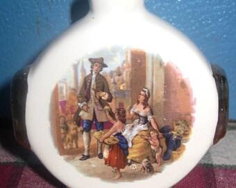 Miniature Porcelain Flask Orlando Cherry Brandy, Aidee Liqueurs, Torquay England