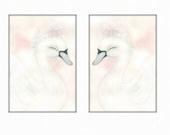 Swan prints, swan  prints, girls room print, baby girl nursery print, swan art, swan print, swan picture