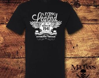 77th Birthday, 77 Birthday, 77th Birthday Shirt, 77 Birthday Shirt, 1941, Living Legend, Birthday, Birthday Gift, Birthday Shirt, T-Shirt