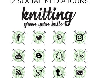 Social Media Icons, Yarn Icons, Crafting Icons, Simple Icons, Branding icons, blog badges, knitting blogger, knitter branding