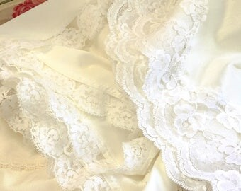 Vintage Half Slips Lot of 3 Lingerie White Lace Nylon Antron Vanity Fair Dupont Lorraine