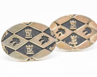 Chess theme gold tone cuff links