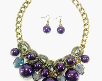 Pearlotta - Purple & Gold Statement Necklace and Earring Set
