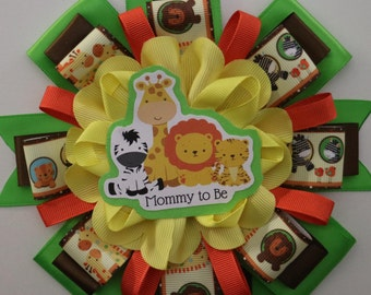 Baby Safari Jungle Animals Baby Shower Mommy to Be Corsage