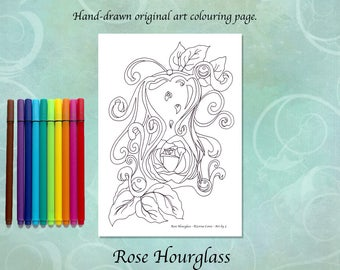 Rose Hourglass Printable Colouring Page