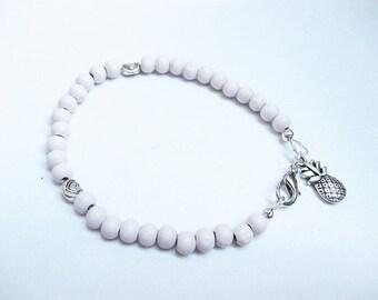 Bracelet, wood beads, women, feminine jewelry, pink