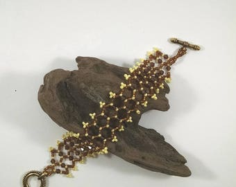 Beaded Statement Bracelet, Brown and Yellow with Brown Crystals Bracelet, Woven Bead Jewelry, Diamond Weave Beaded Bracelet