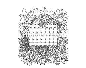 Instant Download - Ready to Print - March 2018 - Coloring Page