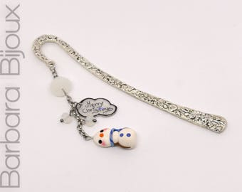 Bookmark-Snowman-Kawaii-Cute-reading-gadget reading, Christmas.