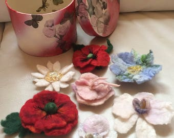 Felted Flowers - Brooches