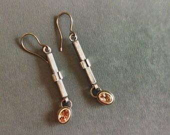 Gemstone earrings / tourmaline earrings / silver earrings / dangle earrings / peach jewelry / geometric earrings / tourmaline jewelry