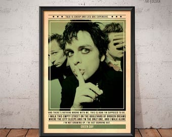 Green Day - Quote Retro Music Poster - Music Print, Wall Art