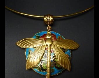 "Necklace-gold torque, Asia ""ODONATA"" style large flat turquoise cloisonné, raw brass Dragonfly bead."