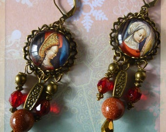 """Earrings medieval """"Diptych"""", illustrated Cabochons, red Czech glass, gemstone, metal bronze"""