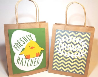 """New baby gift bag set....""""Oh Baby"""" and """"Freshly Hatched"""" gift bags...gender neutral gifts"""