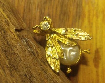 Golden Bee with Baroque Faux Pearl Body and Rhinestone Head