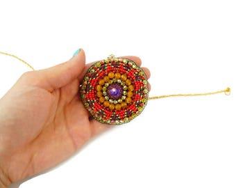 Beaded Rosette Colorful Beadwork Rosette Necklace Indian Rosette Native Medallion Ethnic Beadwork Tribal Beadwork Tribal Talisman