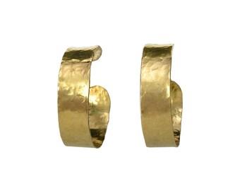 Gold hammered hoops, brass earrings, bold hoop earrings, stud large hoops, creole hoops, gift for her under 25, chunky jewel, 1 .5 inch hoop