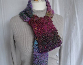 multi colour scarf, open knit scarf, wool mix scarf, colorful accessory, ideal gift, lightweight scarf, all seasons scarf, bright knit scarf