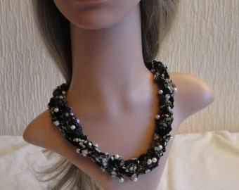 knitted necklace, textile jewellery, metal-free jewelry, necklace with pearls, black multi necklace, statement accessory, necklace twist