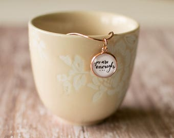 You Are Enough Necklace, I am Enough Jewelry, Rose Gold Inspirational Necklace, Mantra Necklace for Women, 402058