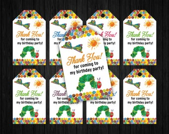 Hungry Caterpillar Tags, Hungry Caterpillar Birthday, Hungry Caterpillar Thank You, Hungry Caterpillar Party Supplies