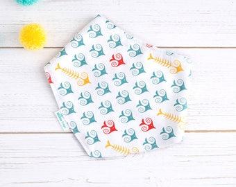 Bandana Dribble Bib - Organic Bamboo & Cotton - Gender Neutral -Fishbone Bib - UK Seller - Baby Fashion - Baby Clothes - Baby Gift