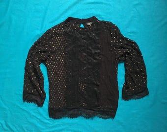 Vtg Gold Glitter Polka Dot Blouse. Black Ruffle frill Victorian Blouse. 80's top. 80's Shirt. sz S