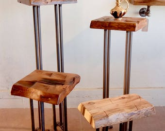 Reclaimed wood Stool with pipe legs Plant stand or vase holder made from hand & Reclaimed wood stool | Etsy islam-shia.org