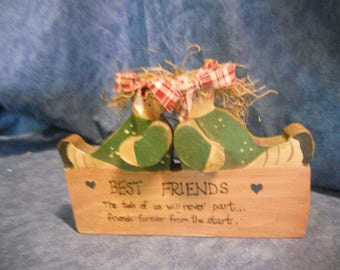 Best Friends Wood Sign Shelf Sitter Primative